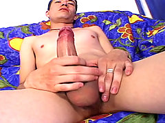 Handsome latino enjoys to jerk off his huge cock in here