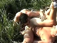 Twinks kissing and fucking on grass